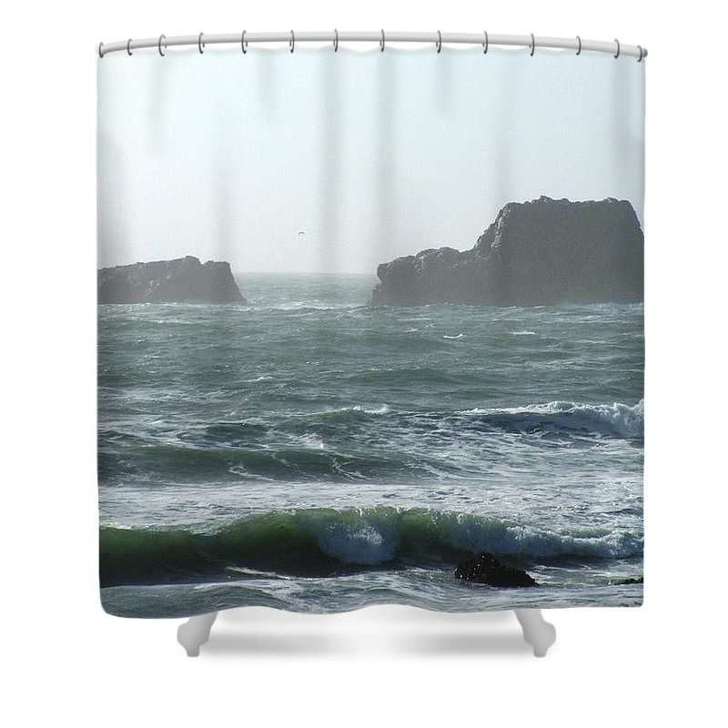 Oceanes Shower Curtain featuring the photograph Rough Waters by Shari Chavira