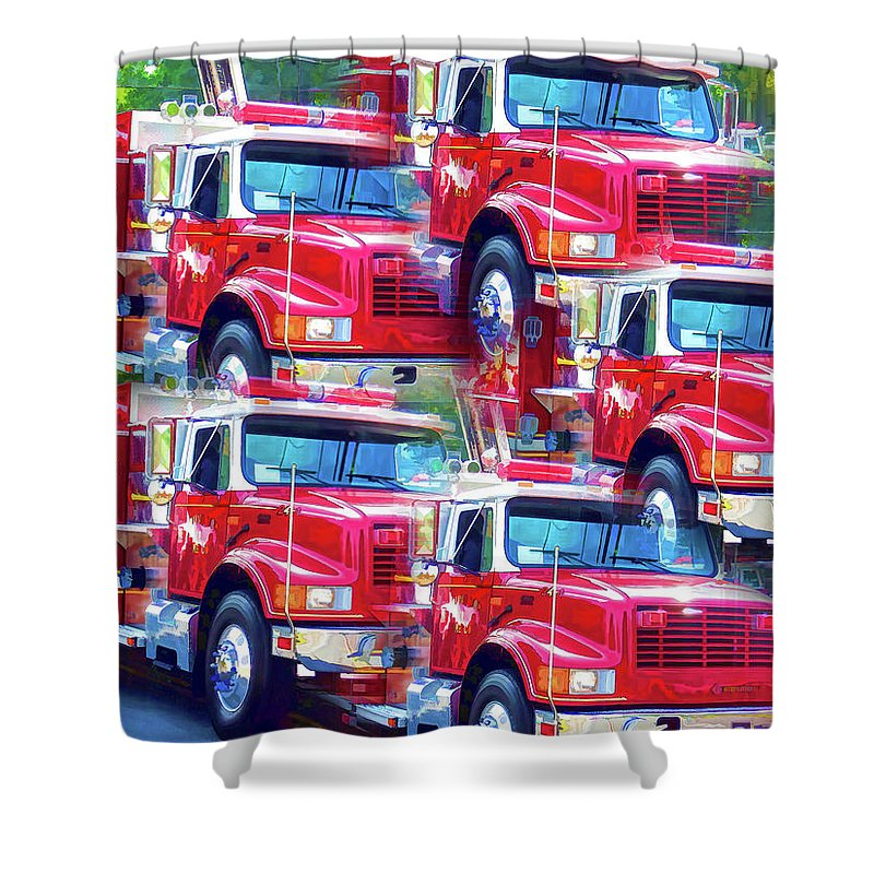 Round Top Vol. Fire Co. Inc. New York Shower Curtain featuring the painting Round Top Vol. Fire Co. Inc. New York 8 by Jeelan Clark