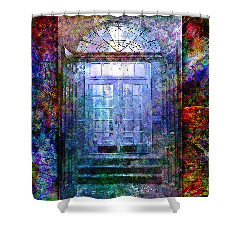 Arch Shower Curtain featuring the digital art Rounded Doors by Barbara Berney