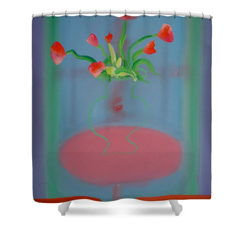 Flower Shower Curtain featuring the painting Rouseau Flowers by Charles Stuart