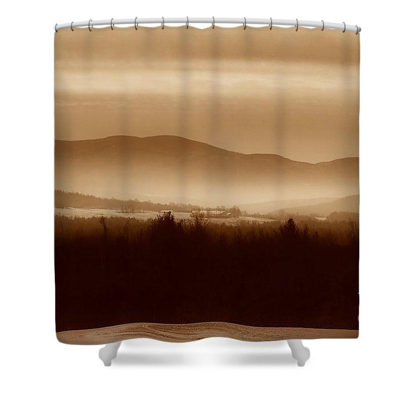 Landscape Shower Curtain featuring the photograph Route 120 Vermont View by Deborah Benoit