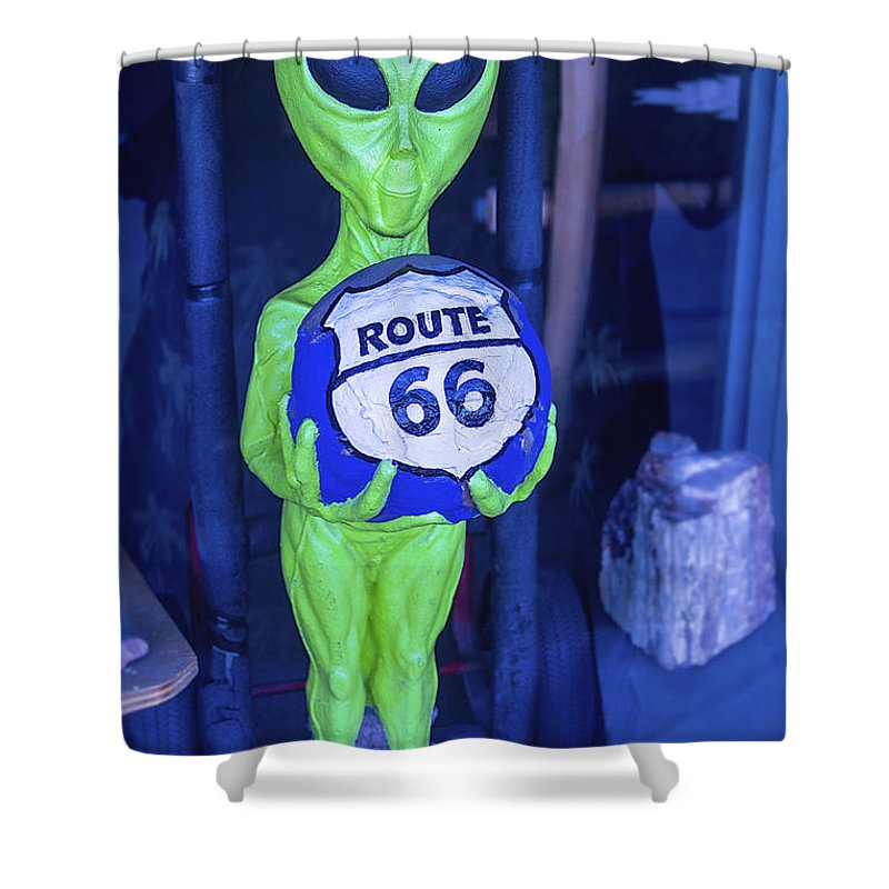 Route 66 Alien Shower Curtain Featuring The Photograph By Garry Gay