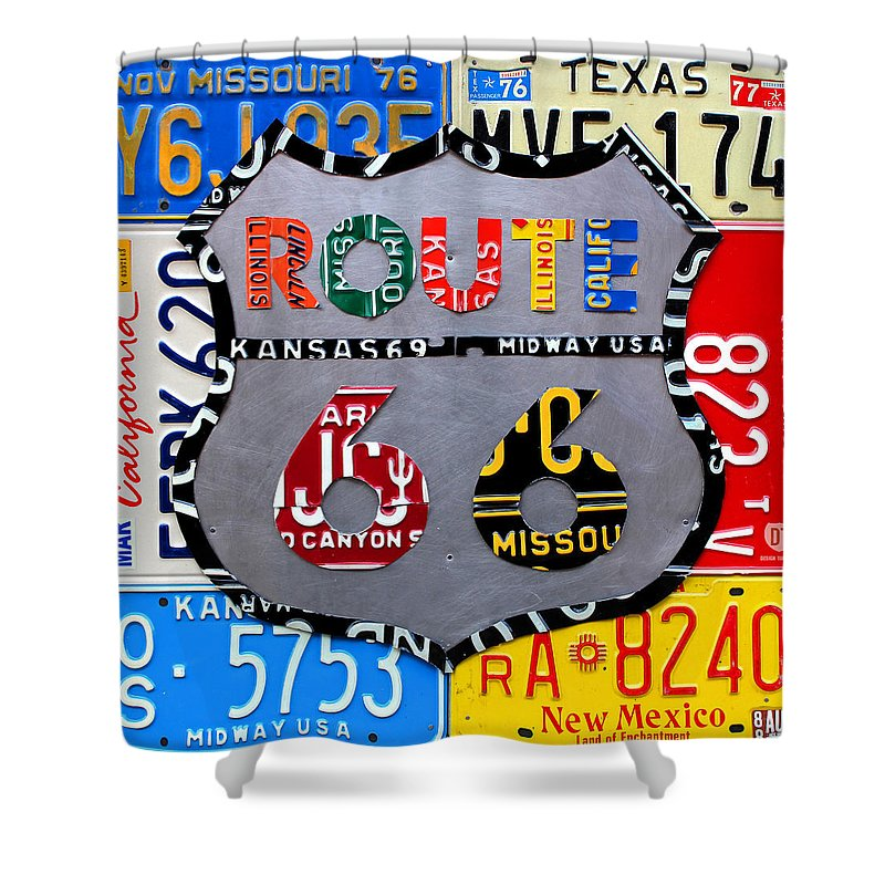 Route 66 Highway Road Sign License Plate Art Travel Map Shower Curtain Featuring The