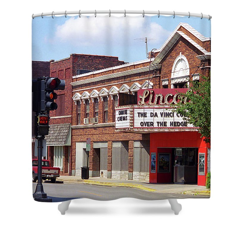 66 Shower Curtain featuring the photograph Route 66 Theater by Frank Romeo