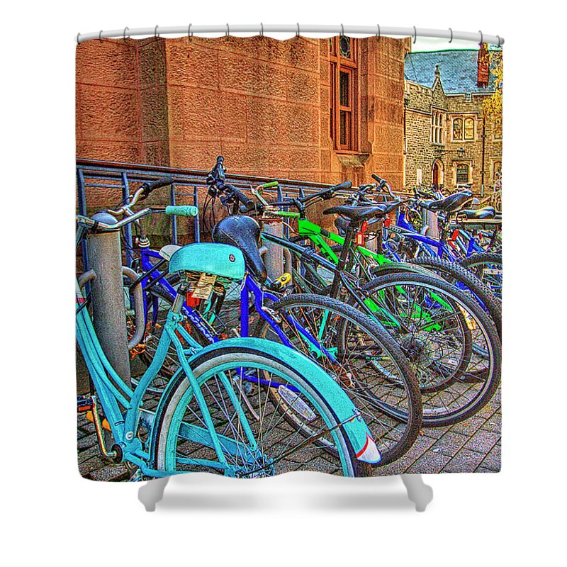 Recent Shower Curtain featuring the photograph Row Of Student Bikes At Princeton University Nj by Geraldine Scull