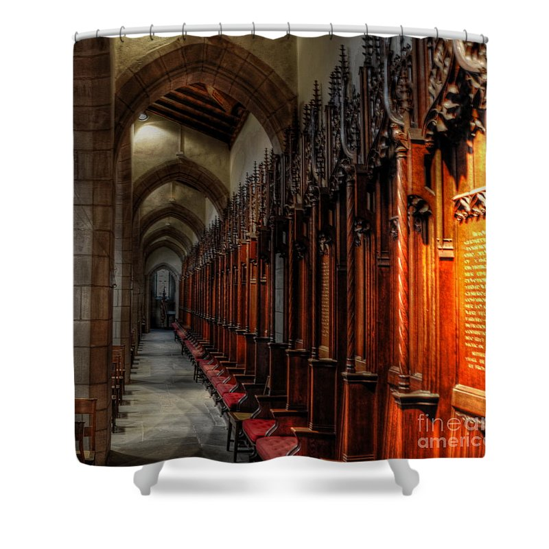 Cranbrook Shower Curtain featuring the photograph Row Of Thrones by Chris Fleming