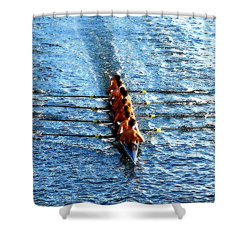 Rowing Shower Curtain featuring the photograph Rowing In by David Lee Thompson