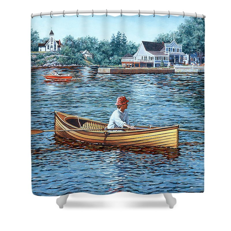 Rockport Shower Curtain featuring the painting Rowing To Rockport by Richard De Wolfe