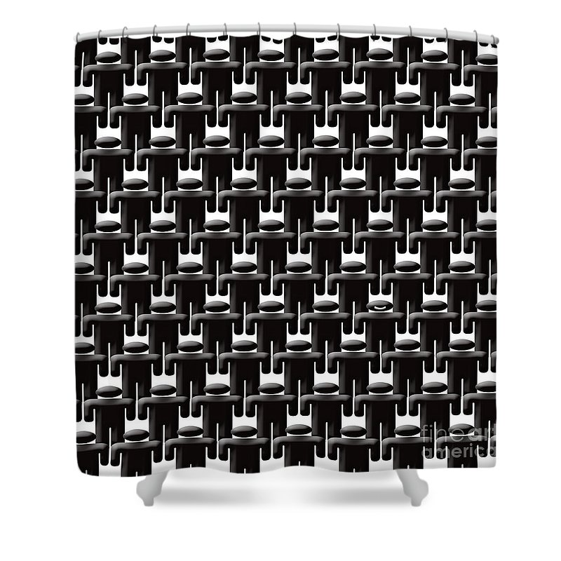 Faceless Shower Curtain featuring the digital art Rows And Rows Of Anonymous Faceless People With One Smiling by Richard Wareham