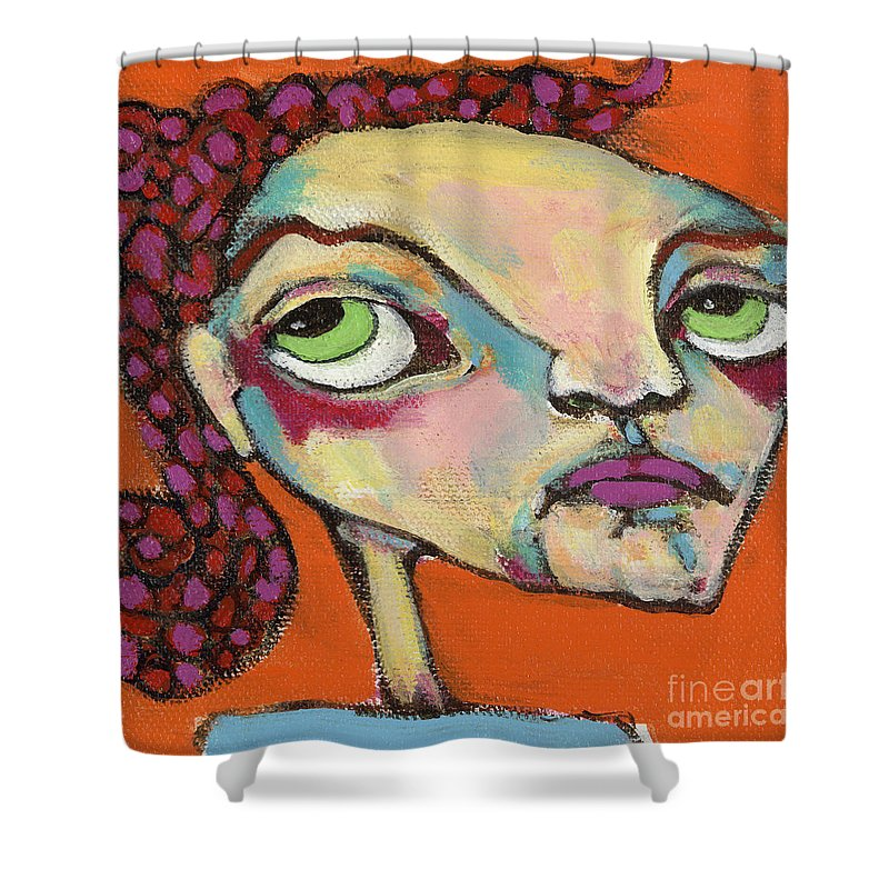 Circle Head Art Shower Curtain featuring the painting Roxie Box by Michelle Spiziri