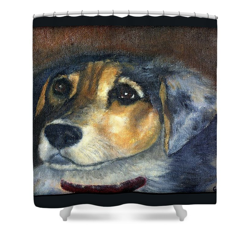 Dog Shower Curtain featuring the painting Roxie by Gail Kirtz