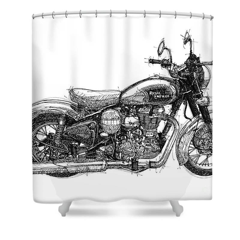 Royal Enfield Shower Curtain Featuring The Drawing C5 Classic Original Artwotk Man Cave
