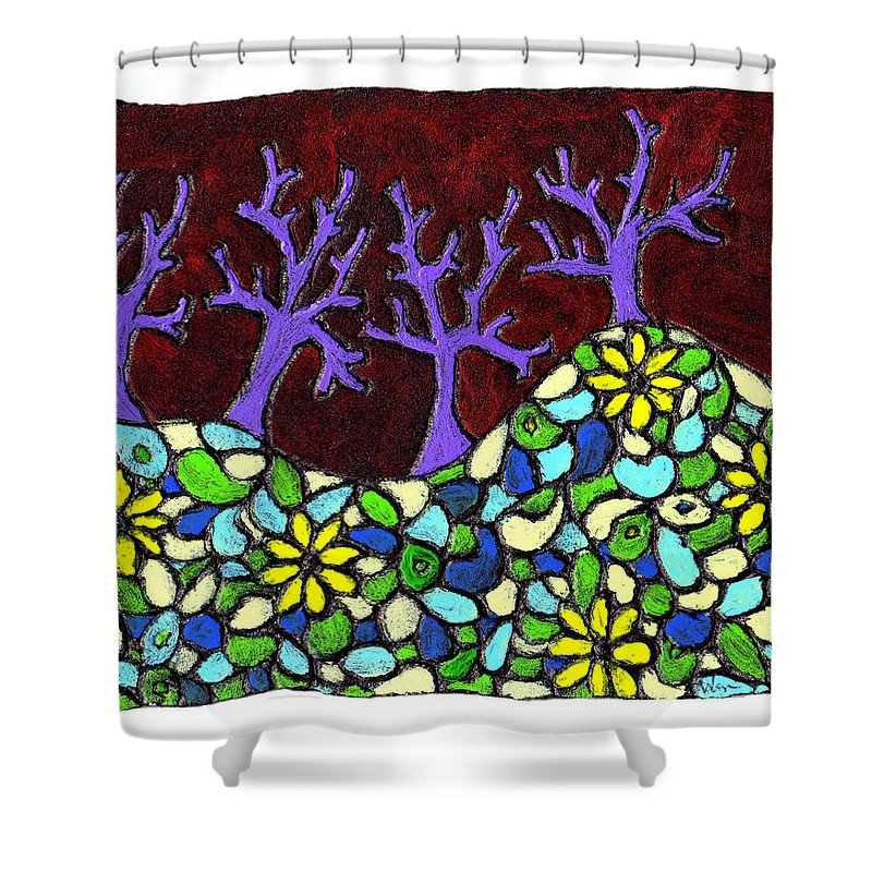 Trees Shower Curtain featuring the painting Royal Forest by Wayne Potrafka