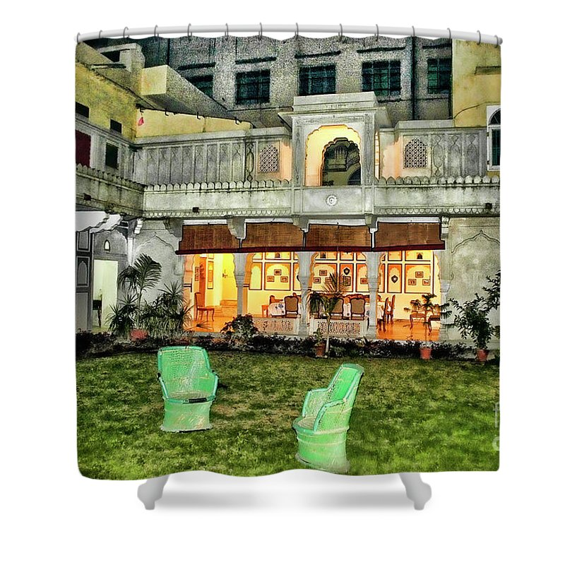Mumbai India Evening Royal Homes Shower Curtain featuring the photograph Royal Home Evening by Rick Bragan