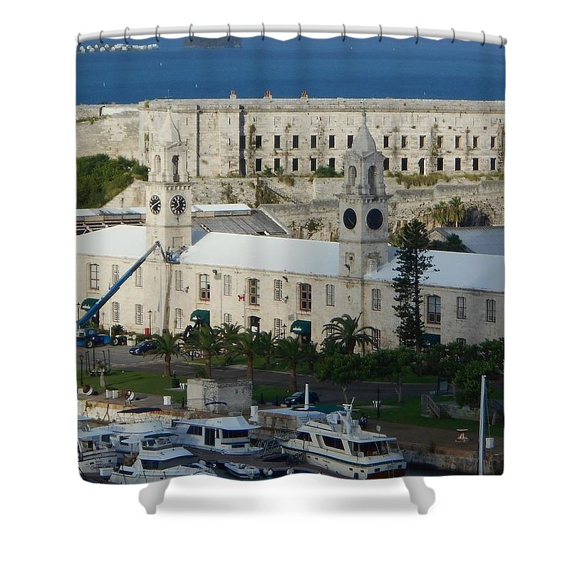 Royal Naval Dockyard Shower Curtain featuring the photograph Royal Naval Dockyard Bermuda by Carolyn Quinn