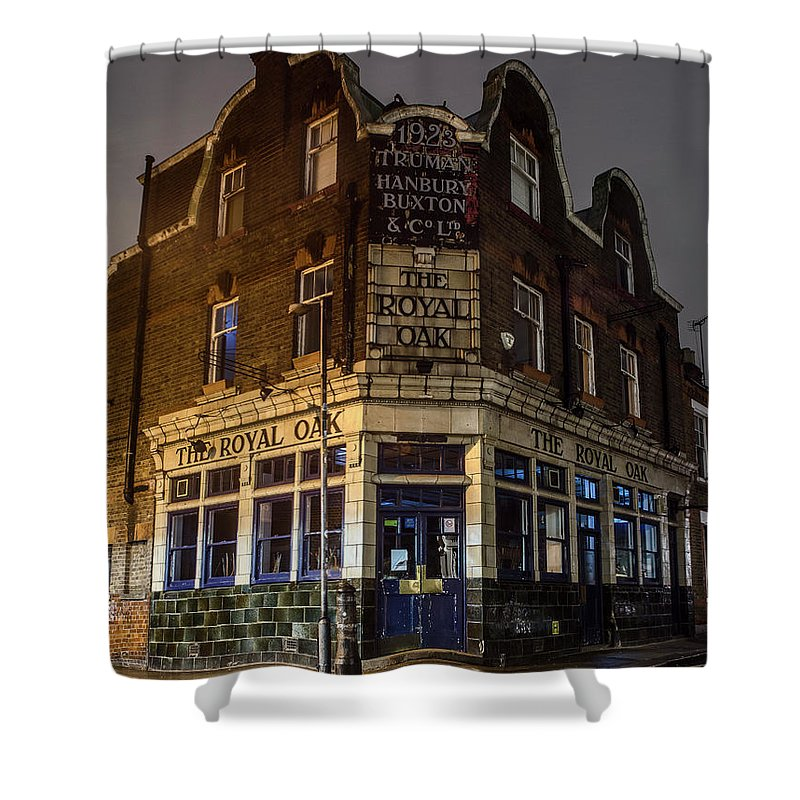 Royal Oak Shower Curtain featuring the photograph Royal Oak Pub Columbia Road London by Philip Pound