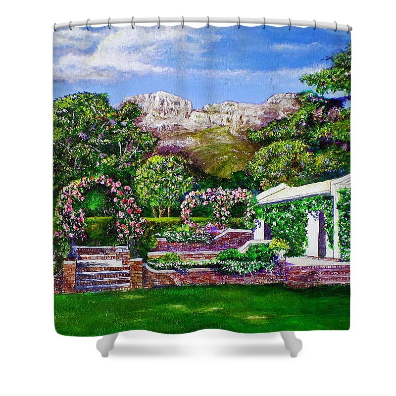 Landscape Shower Curtain featuring the painting Rozannes Garden by Michael Durst