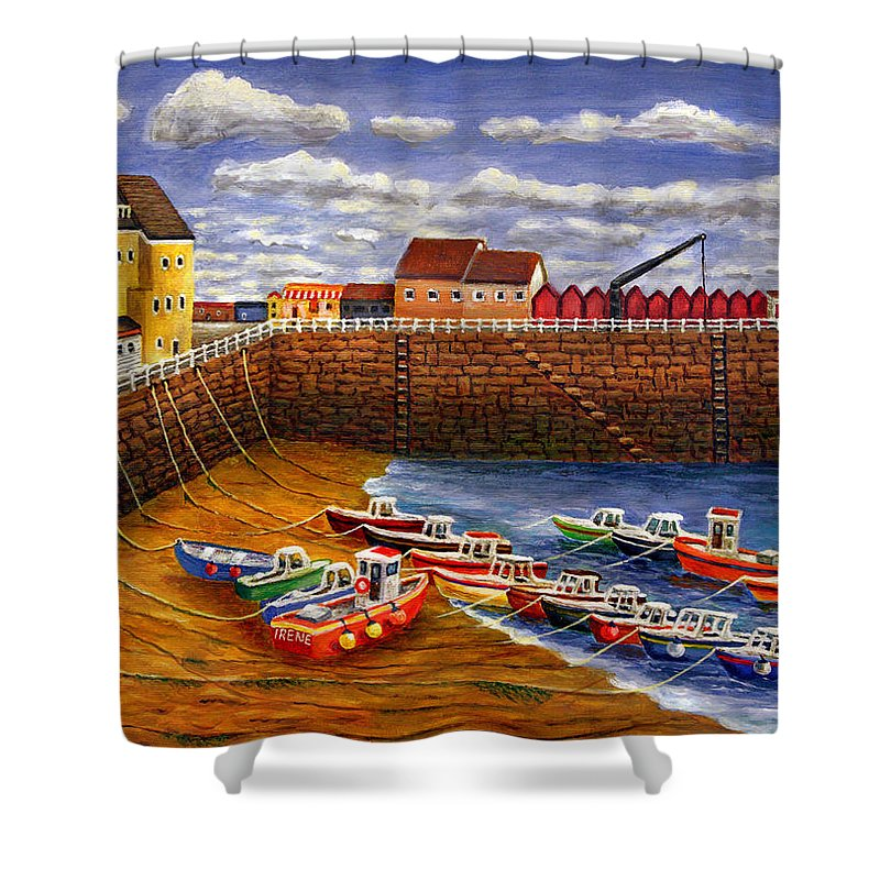 Fishing Boats Shower Curtain featuring the painting Rozel Harbour - Jersey by Ronald Haber