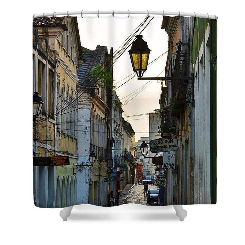 Alley Shower Curtain featuring the photograph Alley At Dusk - Bahia, Brazil by Carlos Alkmin