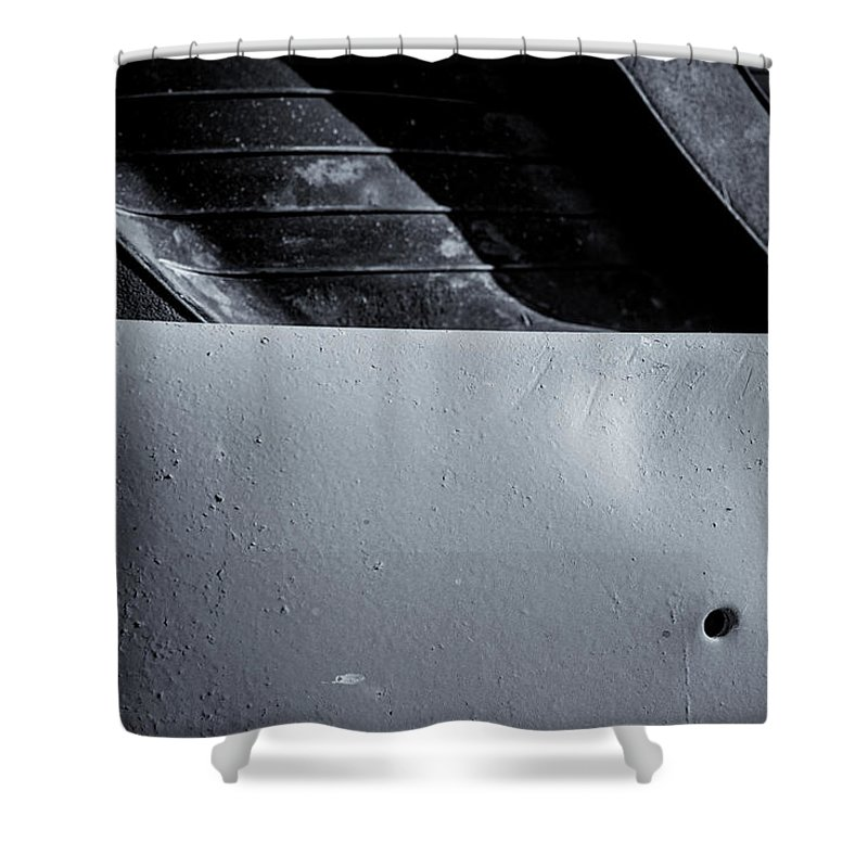 Vehicle Abstract Shower Curtain featuring the photograph Rubber Tire Division by John Williams