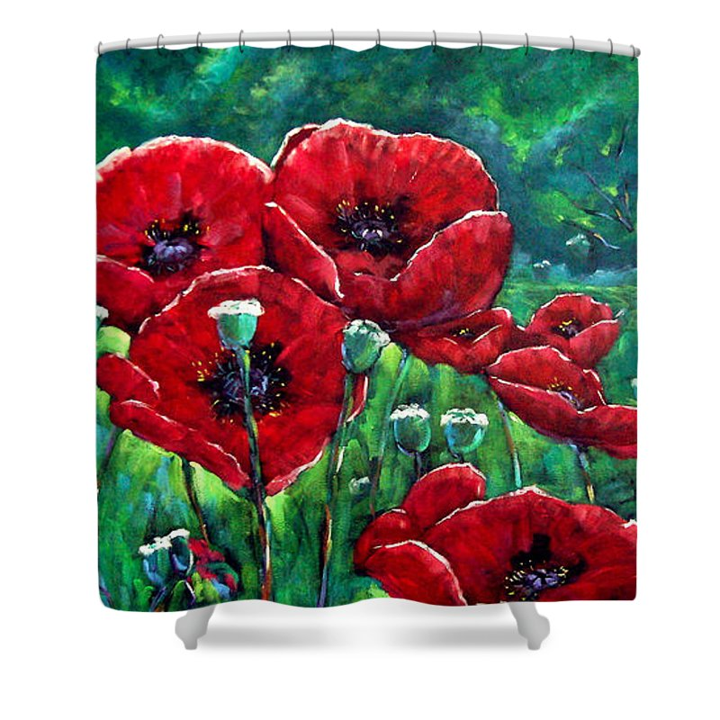 Forest Shower Curtain featuring the painting Rubies In The Emerald Forest by Richard T Pranke