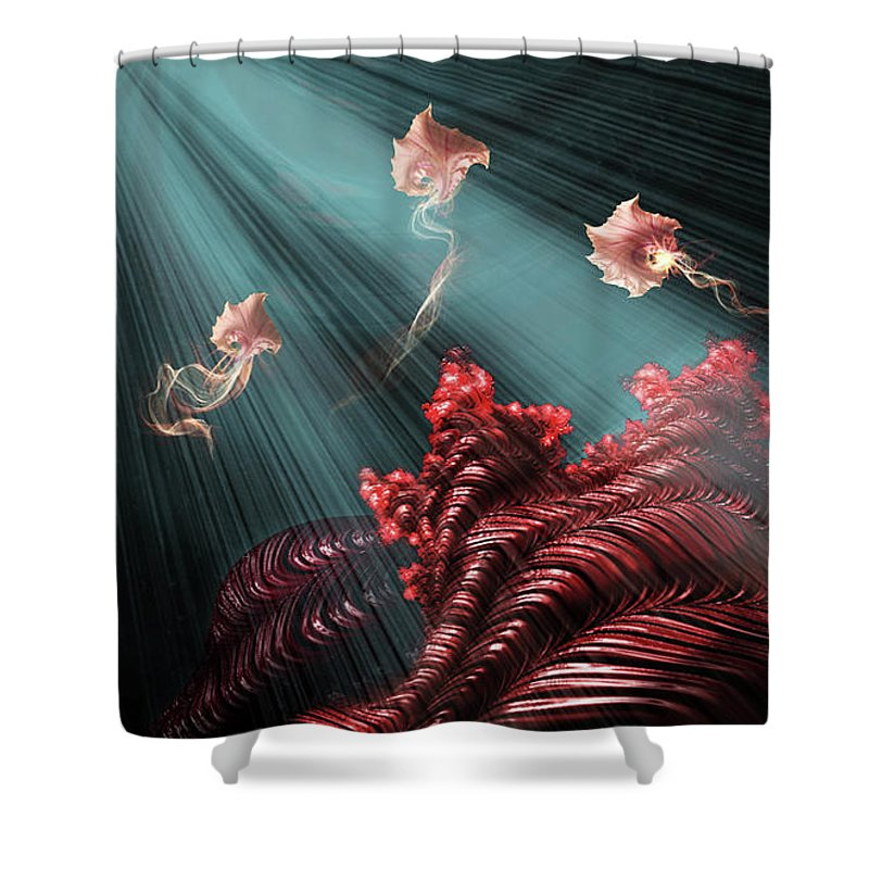 Shower Curtain featuring the mixed media Rubies by Steven Marcus