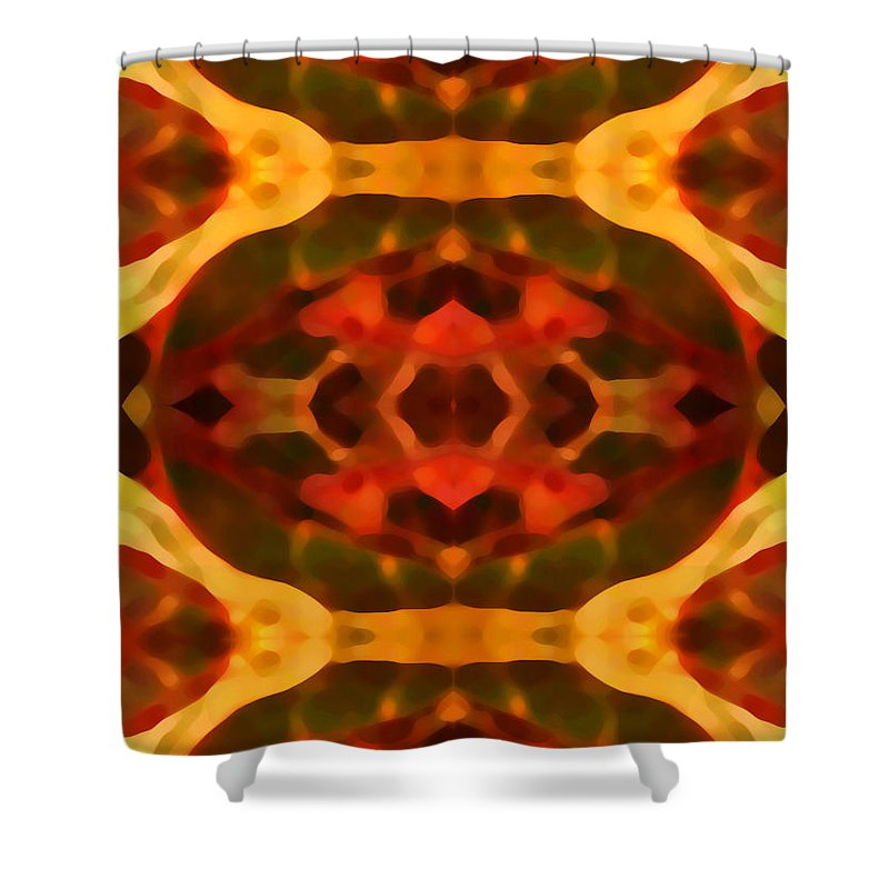 Abstract Painting Shower Curtain featuring the digital art Ruby Crystal Pattern by Amy Vangsgard