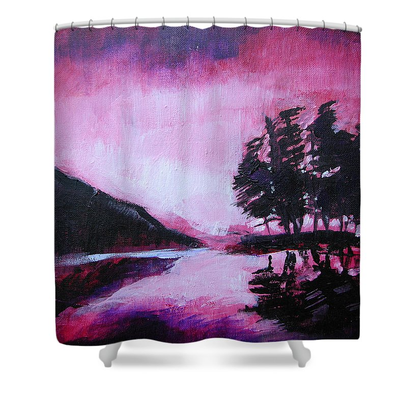 Ruby Dawn Shower Curtain featuring the painting Ruby Dawn by Seth Weaver