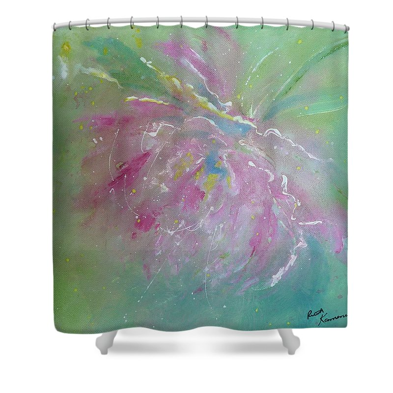 Peony Shower Curtain featuring the painting Ruby Red Peony by Ruth Kamenev