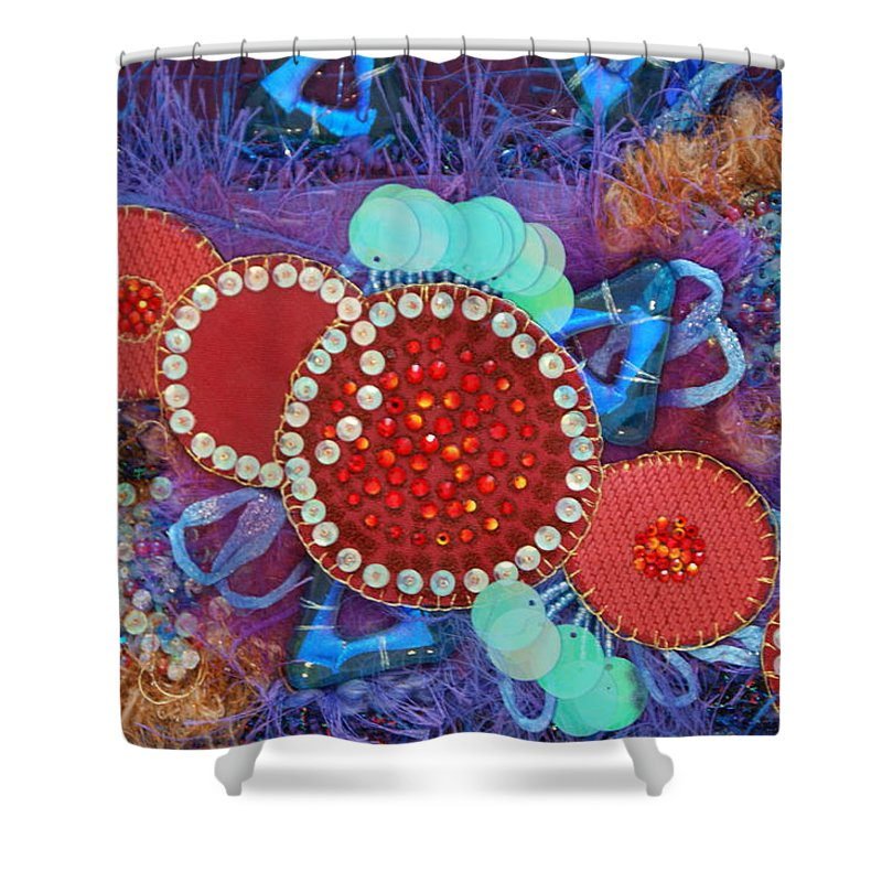 Shower Curtain featuring the mixed media Ruby Slippers 2 by Judy Henninger