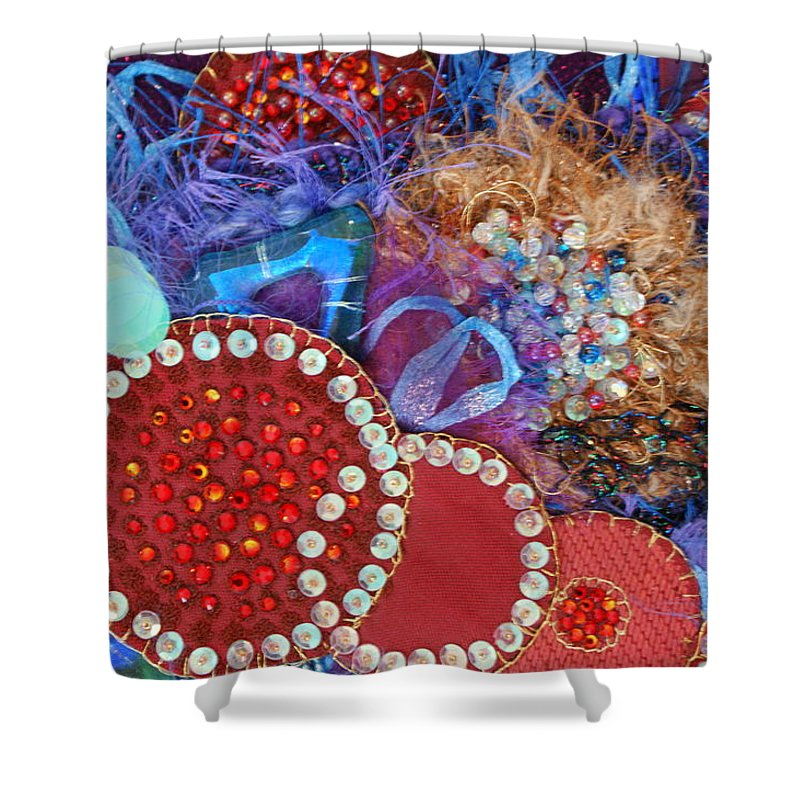 Shower Curtain featuring the mixed media Ruby Slippers 3 by Judy Henninger