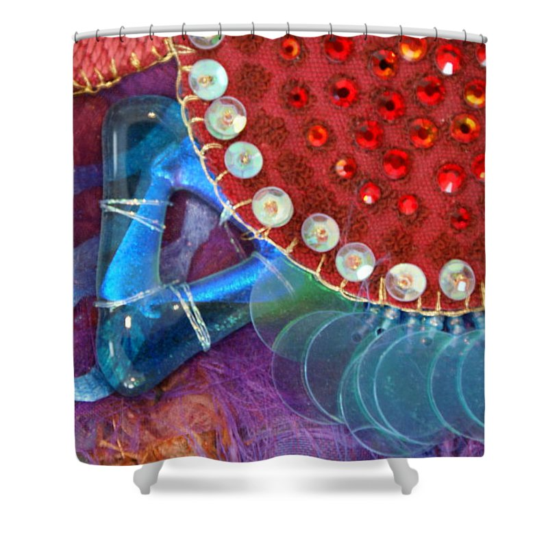 Shower Curtain featuring the mixed media Ruby Slippers 4 by Judy Henninger