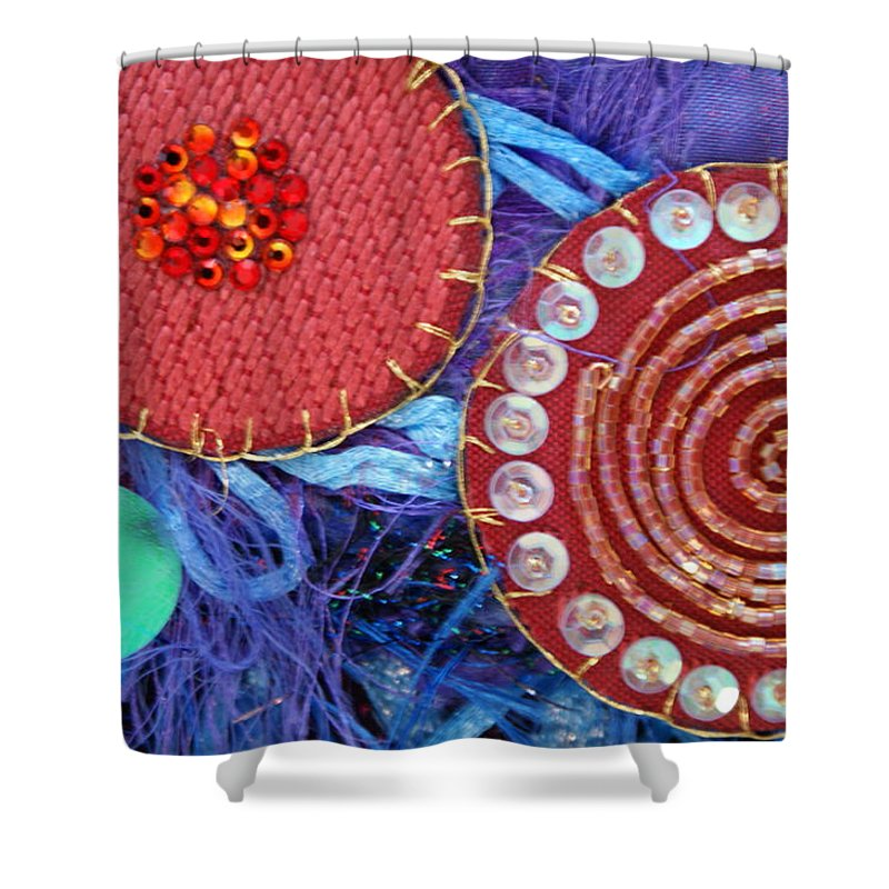 Shower Curtain featuring the mixed media Ruby Slippers 5 by Judy Henninger