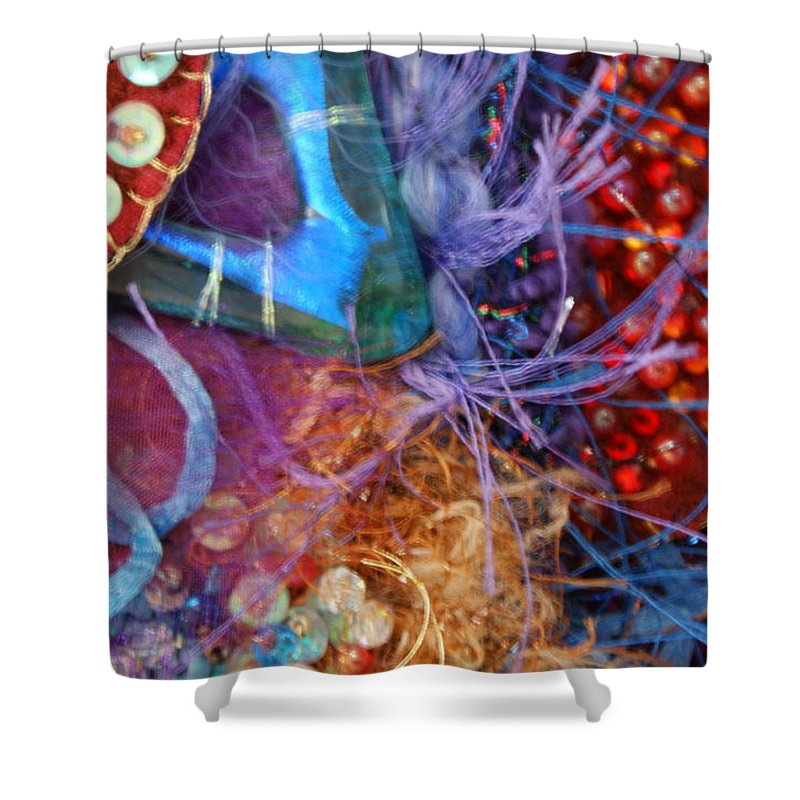 Shower Curtain featuring the mixed media Ruby Slippers 6 by Judy Henninger