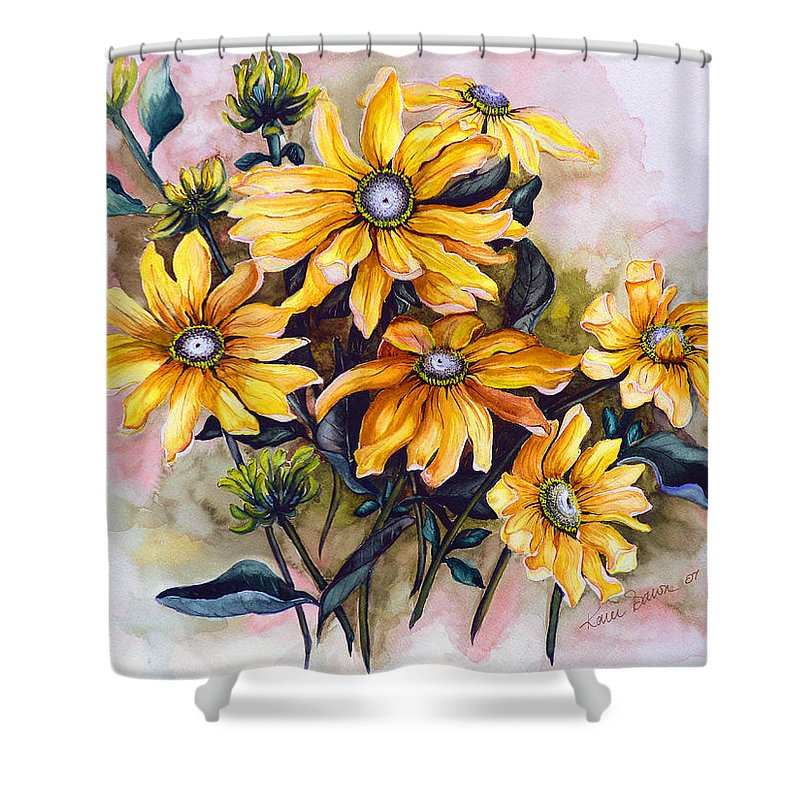 Flower Painting Sun Flower Painting Flower Botanical Painting  Original Watercolor Painting Rudebeckia Painting Floral Painting Yellow Painting Greeting Card Painting Shower Curtain featuring the painting Rudbeckia Prairie Sun by Karin Dawn Kelshall- Best