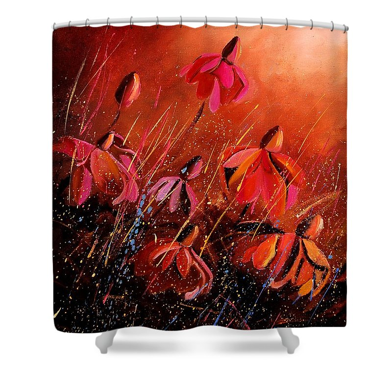 Poppies Shower Curtain featuring the painting Rudbeckia's 45 by Pol Ledent