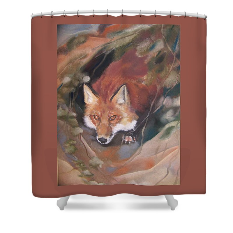 Red Fox Shower Curtain featuring the pastel Rudy Adult by Marika Evanson