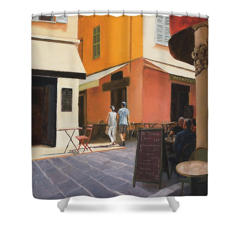 Nice Shower Curtain featuring the painting Rue en Nice by Tate Hamilton