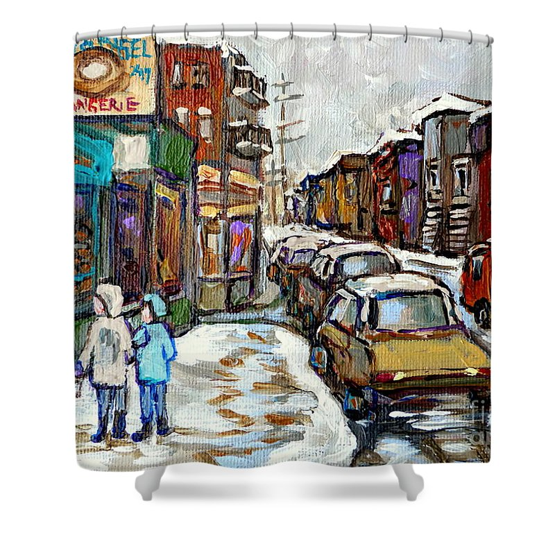 Pictures Of Montreal Shower Curtain featuring the painting Achetez Les Petits Formats Scenes De Montreal St Viateur Bagel And Cola Truck Buy Montreal Painting by Carole Spandau