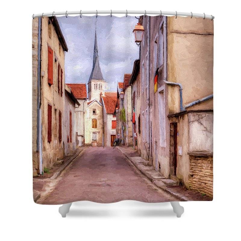 Street Shower Curtain featuring the digital art Rue Victor Hugo by Jean-Pierre Ducondi