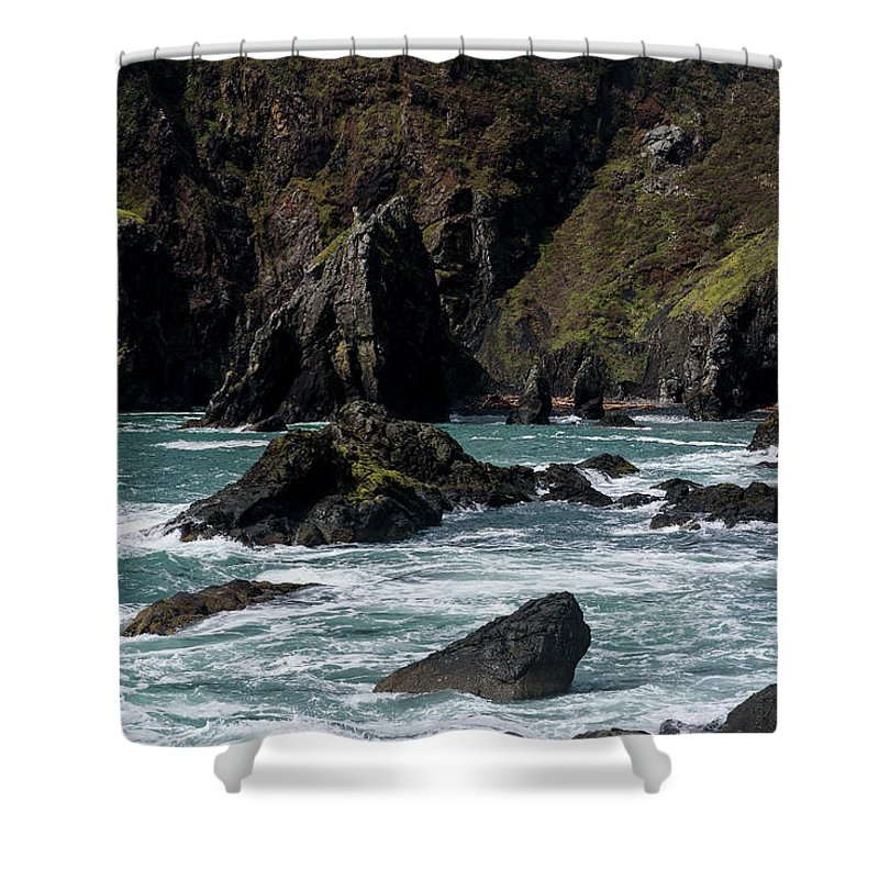 Cliffs Shower Curtain featuring the photograph Rugged South Coast by Robert Potts