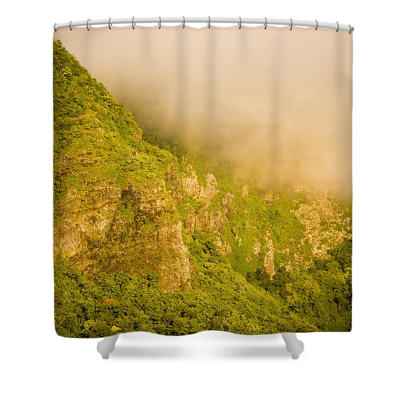Clouds Shower Curtain featuring the photograph Rugged Volcanic Peaks Of Moorea by Tim Laman