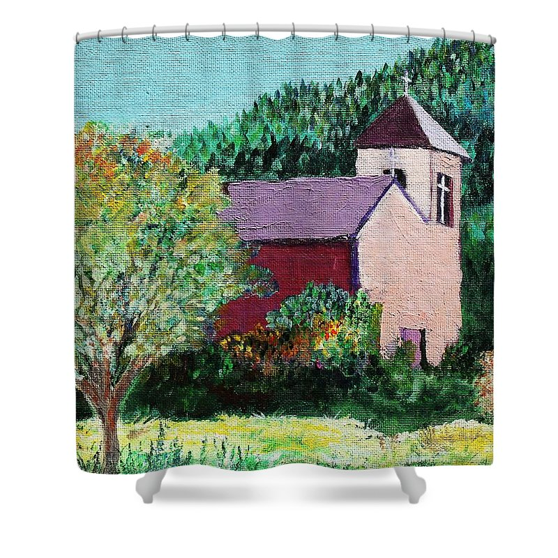 Church Shower Curtain featuring the painting Ruidoso by Melinda Etzold