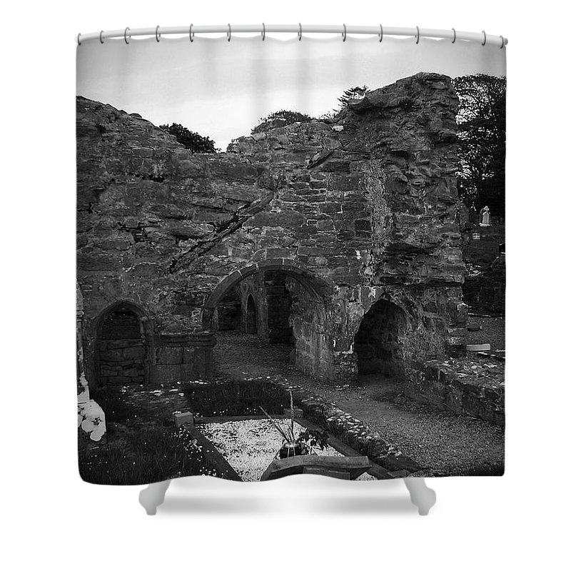 Irish Shower Curtain featuring the photograph Ruins At Donegal Abbey Donegal Ireland by Teresa Mucha
