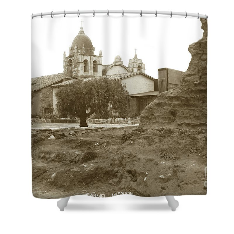 Adobe Walls Ruins Of Carmel Mission Circa 1924 Shower Curtain featuring the photograph Ruins Of Carmel Mission Circa 1924 by California Views Archives Mr Pat Hathaway Archives