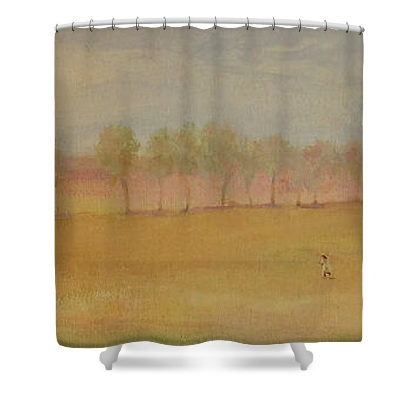 Landscape Shower Curtain featuring the painting Run by Barbara Harrison