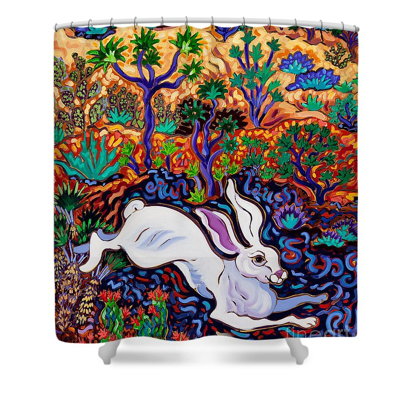 Rabbit Shower Curtain featuring the painting Run, Laugh, Sing, Be Happy by Cathy Carey