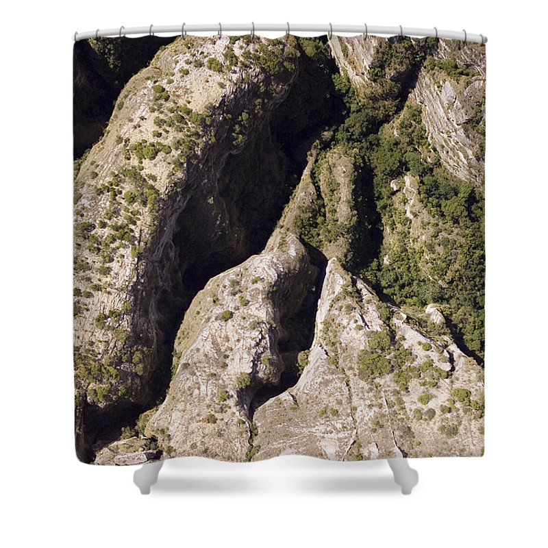 Africa Shower Curtain featuring the photograph Runiiforme Dissected Sandstone Hills by Michael Fay