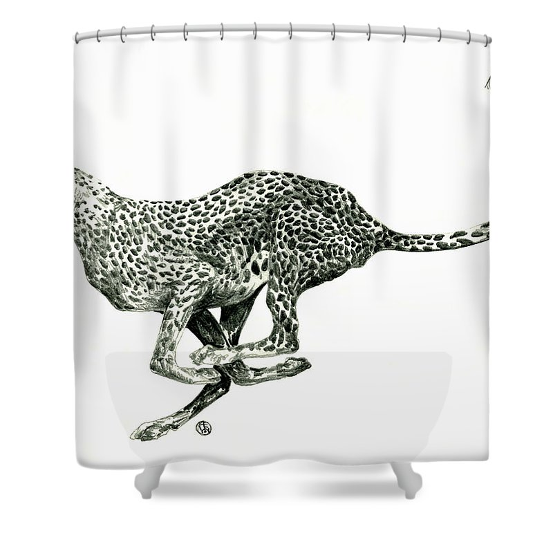 Nature Shower Curtain Featuring The Drawing Running Cheetah By Shirley Heyn
