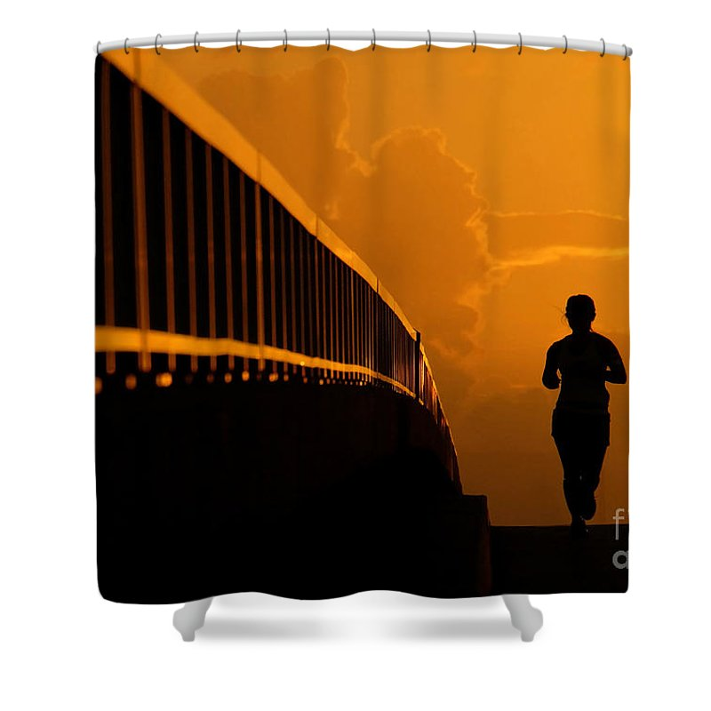 Running Shower Curtain featuring the photograph Running Girl by David Lee Thompson